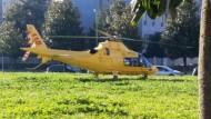 Eliambulanza atterra al parco dei Mille. Incidente sul lavoro.