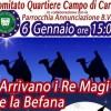 La Befana arriva a Campo di Carne. Il 7 gennaio verrà inaugurato il Mercato Rionale.