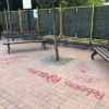 Graffiti sul piazzale dedicato al ricordo di Giorgio Buzzi, comportamento deprecabile dei giovani di Campo di Carne