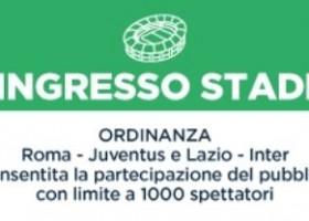 Regione Lazio: ok alla partecipazione del pubblico allo Stadio per 1.000 spettatori.