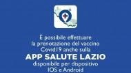 """Vaccini anti Covid-19: è possibile ora effettuare la prenotazione anche sull'app """"Salute Lazio""""."""