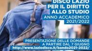 Regione Lazio, pubblicato il bando per il diritto allo studio a.a. 2021/22.