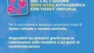 Regione Lazio: da mercoledì 2 a sabato 5 giugno Open Week Astrazeneca con ticket virtuale.