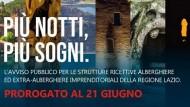 """Regione Lazio, Turismo: prorogato al 21 giugno """"Più notti, più sogni""""."""