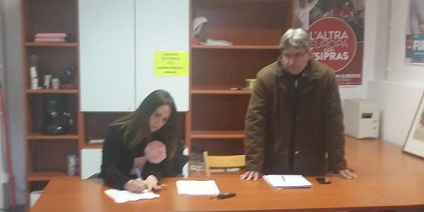 Consigliere Carmen Porcelli ed il Segretario Sel Maurizio Marinozzi