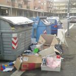 Degrado in via Clementi: rifiuti in strada.