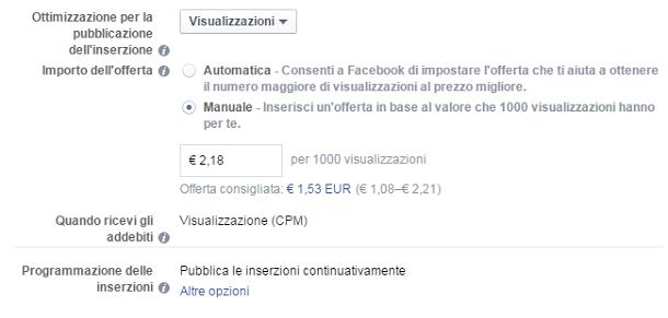 campi di offerta facebook