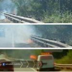 Pontina, incendio allo svincolo Apriliana: Vigili del Fuoco sul posto