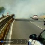 Incendio sulla Pontina, code al km 25