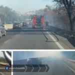 Incendio ed incidente sulla Pontina, direzione Latina