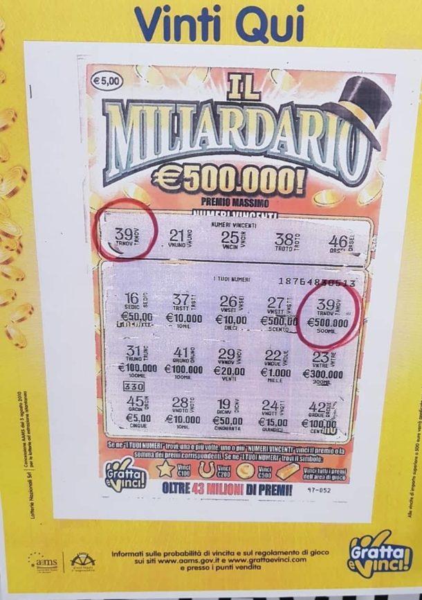 gratta e vinci vincente 500.000 euro tabaccheria conti