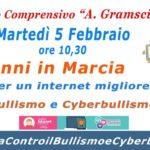 Gli alunni della scuola Gramsci in marcia contro il bullismo e il Cyberbullismo