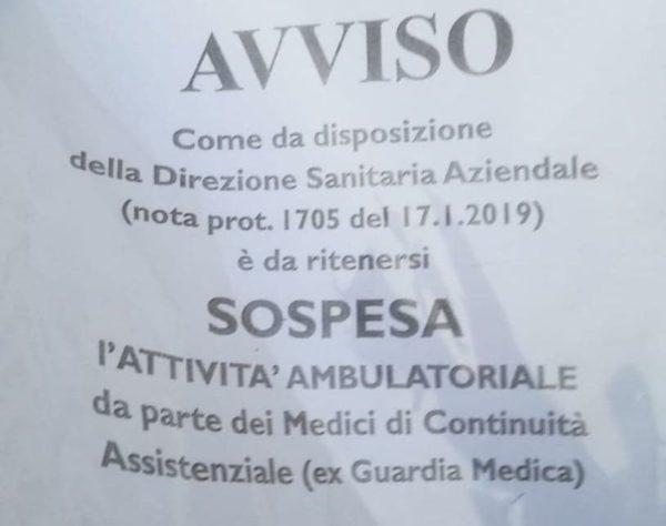 avviso interruzione servizio guardia medica ambulatorio