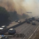 Incendio sulla Pontina all'altezza di Borgo Montello al km 59,200 .