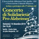 Il 15 Dicembre il Concerto di Solidarietà Pro-Alzheimer.
