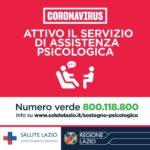 Regione Lazio, Coronavirus: attivo il servizio di assistenza psicologica per i cittadini.