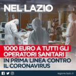 """Regione Lazio: """"Mille euro a tutti gli operatori sanitari impegnati contro il Coronavirus."""