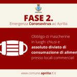 Aprilia: obbligo mascherina e divieto assoluto di consumazione alimenti in locali commerciali.