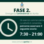 Comune di Aprilia: cibo e bevande da asporto dalle ore 7:30 alle ore 21:00.