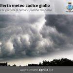 Aprilia, meteo: codice giallo per oggi e martedì.