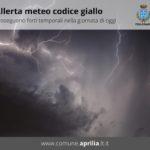 Aprilia, meteo: previsto codice giallo per oggi.