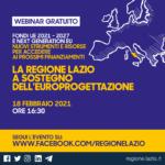La Regione Lazio sostiene l'Europrogettazione: il 18 febbraio il webinar.
