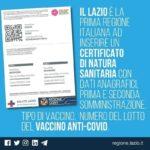 Lazio prima regione a rilasciare la certificazione vaccinale.