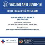 Vaccino anti Covid-19: dal 27 aprile partiranno le prenotazioni per la fascia d'età 59 – 58 anni.