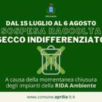 Aprilia, da domani al 6 agosto sospesa la raccolta dell'indifferenziato secco